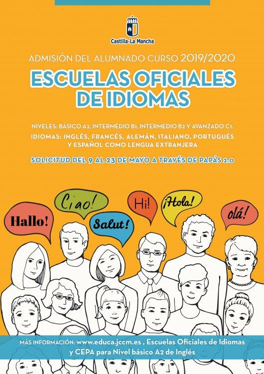 Cartel admisión a escuelas oficiales de idiomas 2019/2020