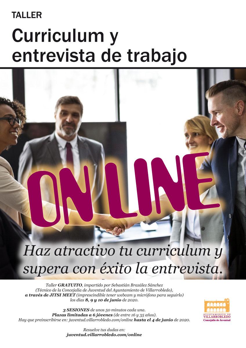 Cartel del taller on-line de curriculum y entrevista de trabajo